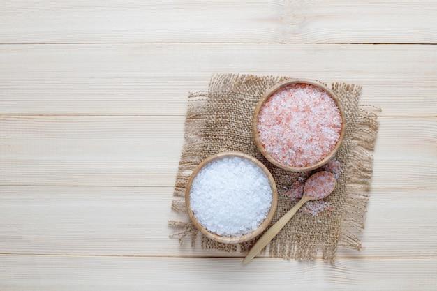 Himalayan pink salt,top view Free Photo