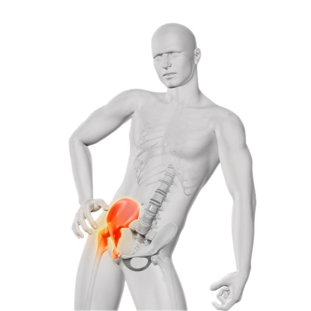 Hip ache figure in three dimensios Free Photo