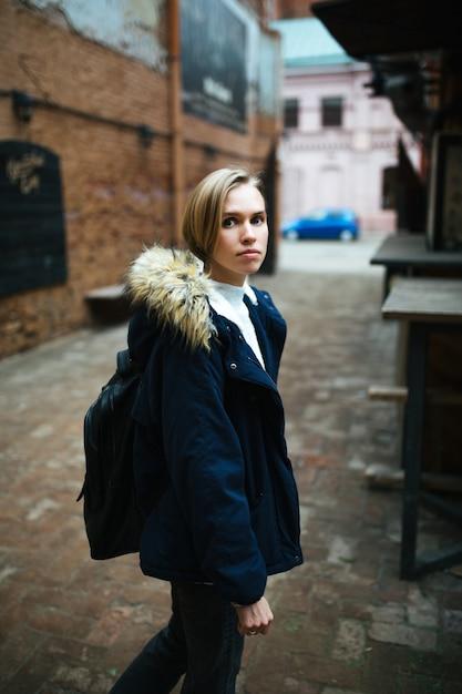 Hipster girl wearing dark blue jacket Premium Photo