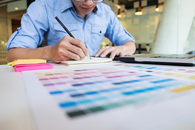 Hipster modern graphic designer drawing working home using - How to be a graphic designer from home ...
