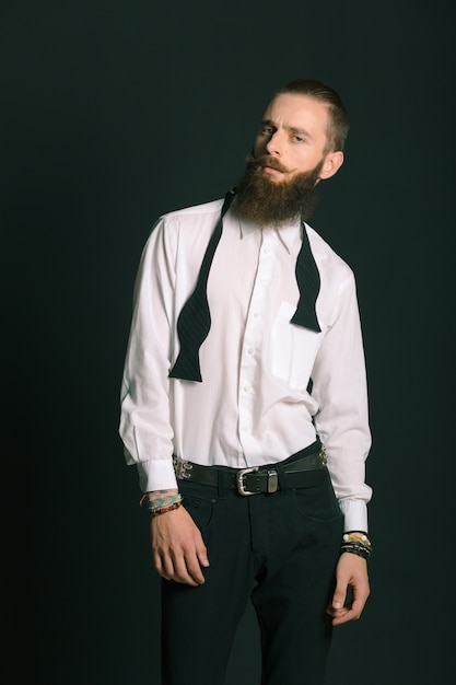Hipster style bearded man Free Photo