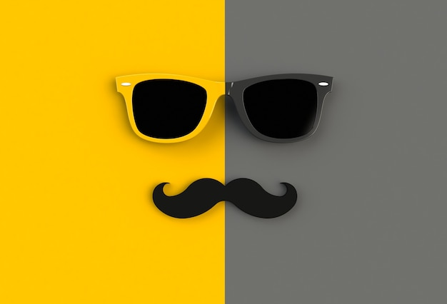 Hipster sunglasses and funny moustache on yellow and black background Premium Photo