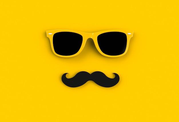 День отца концепция. солнцезащитные очки hipster yellow и забавные усы Premium Фотографии