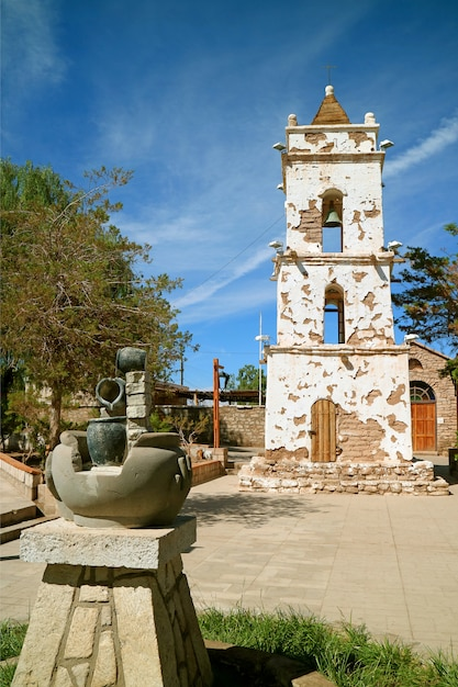 Historic bell tower of saint lucas church or iglesia de san lucas, toconao town, northern chile Premium Photo