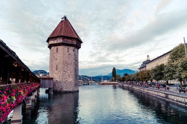 Historic city center of lucerne with famous chapel bridge in switzerland. Premium Photo