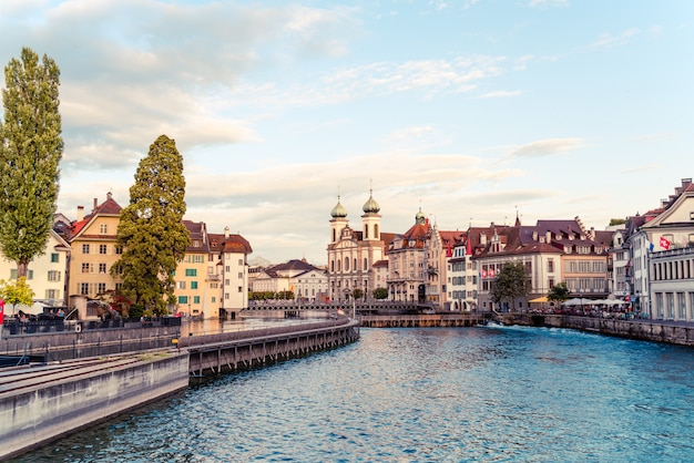 Historic city center of lucerne with famous chapel bridge in switzerland. Premium Photo