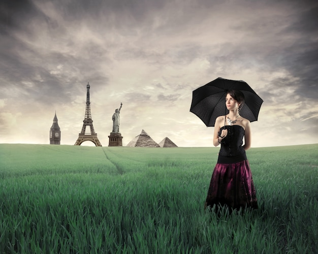 Historical monuments and an elegant woman Premium Photo