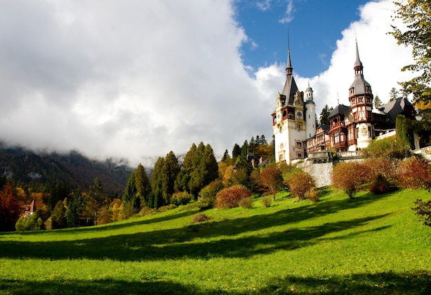 Исторический монастырь синая в окружении зеленых деревьев в синая, румыния Бесплатные Фотографии