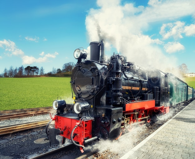 Historical steam train on island rugen in germany Premium Photo