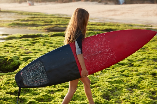 Hobby and sport concept. active female surfer carries surf board, walks on coast during summer holidays, wants to hit ocean waves, has recreation in paradise place, poses alone. horizontal shot Free Photo