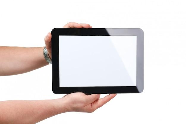 手に黒いタブレットフレームをhoding男 Premium写真