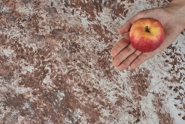 赤いリンゴを手に持っています。 無料写真