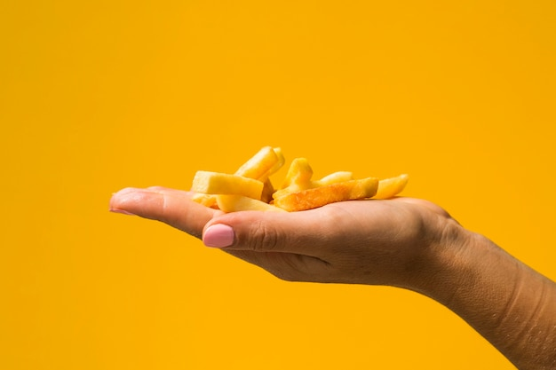 Holding french fries in front of yellow background Free Photo