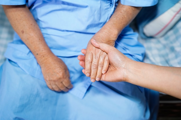 Holding hand asian senior woman patient with love and care. Premium Photo
