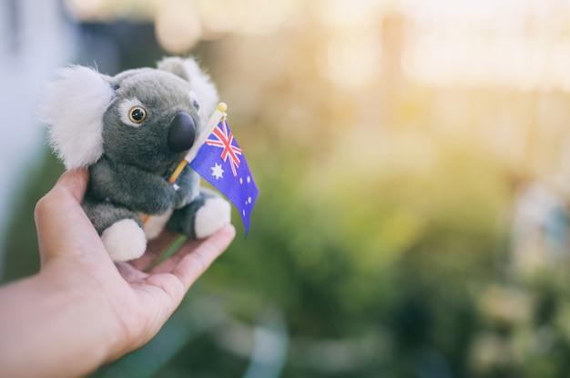 Holding model koala hold australia national flag, pray for australia. australia bush fires. Premium Photo