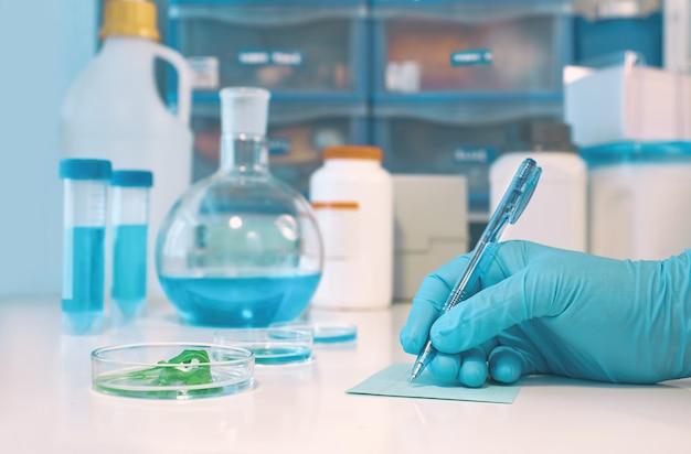 手袋をはめた手holdong顕微鏡スライドガラスと科学的または医学的背景 Premium写真