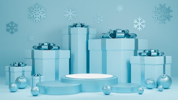 휴일 크리스마스와 행복 한 새 해 선물 상자와 연단 디스플레이와 파스텔 블루 컬러 배경 프리미엄 사진