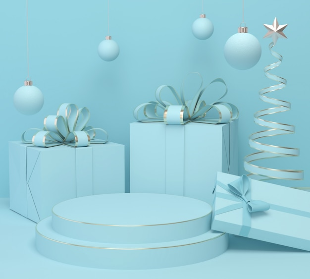 Holiday christmas pastel color background with a gift box and podium display stand, 3d rendering. Premium Photo