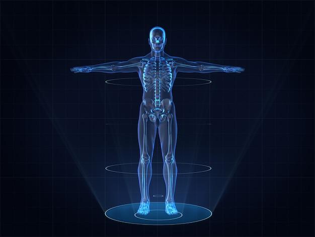 Hologram image of human male skeleton Premium Photo