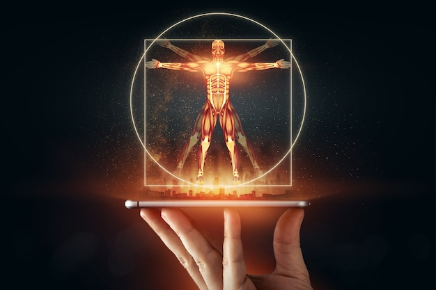 Hologram vitruvian man, the structure of human muscles, biology of the muscular system. human anotomy concept. Premium Photo