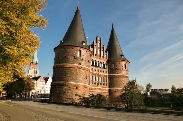 Holsten gate in lubeck  germany Premium Photo