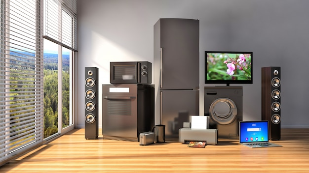 Home appliances. gas cooker, tv cinema, refrigerator, microwave, laptop and washing machine. 3d illustration Premium Photo