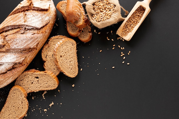 Home baked bread with copy space Free Photo