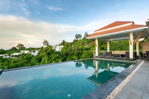 Home exterior design pavilion of pool villa Premium Photo