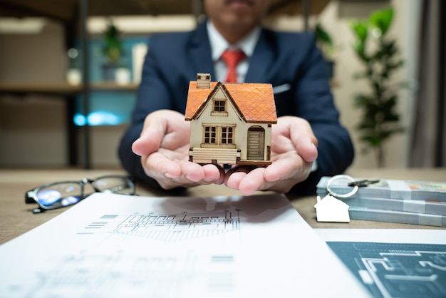 Home insurance, family life assurance protection, financial mortgage for house building Premium Photo