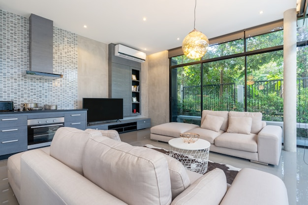 Home interior design in living room of the house Premium Photo