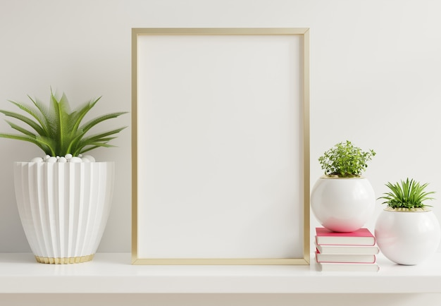 Home interior poster mock up with vertical metal frame with ornamental plants in pots on empty wall Premium Photo