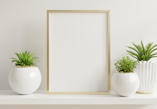 Home interior poster mock up with vertical metal frame with ornamental plants in pots Free Photo