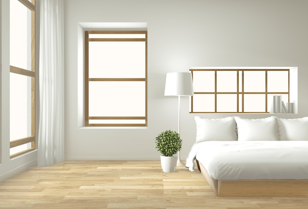 Japanese Zen Bedroom: Home Interior Wall Mock Up With Wooden Bed, Curtains And