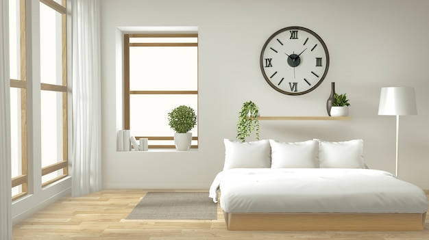 Home Interior Wall Mock Up With Wooden Bed Curtains And