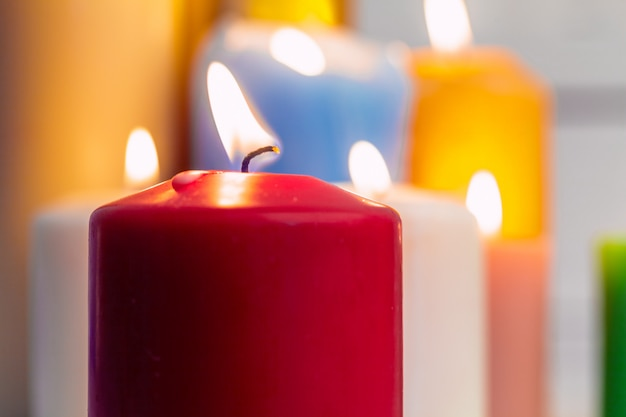 Home lighting candles Premium Photo