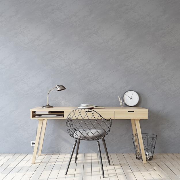 홈 오피스. 인테리어 모형. 빈 회색 벽 근처 나무 책상입니다. 3d 렌더링. 프리미엄 사진