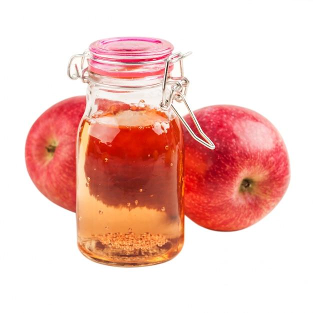 Homemade apple cider and fresh fruits Premium Photo