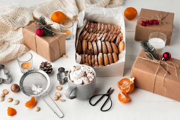 Homemade bakery making, gingerbread cookies in form of christmas tree close-up. Free Photo