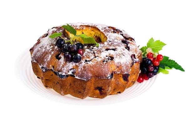 Homemade baking. cupcake with fresh berrieshappy new year 2020 year of the rat Premium Photo