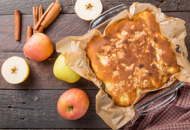 Homemade blondie (blonde) brownies apple cake square slices Premium Photo
