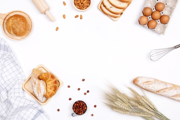 Homemade Breads Or Bun Croissant And Bakery Ingredients
