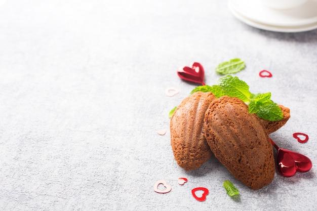 Homemade chocolate cookies madeleine Premium Photo