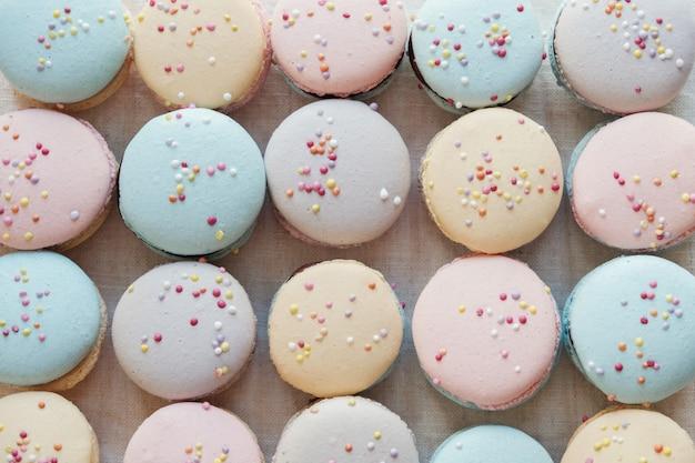 Homemade colorful pastel macaroons Premium Photo