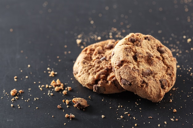 Homemade cookies on a black background Premium Photo