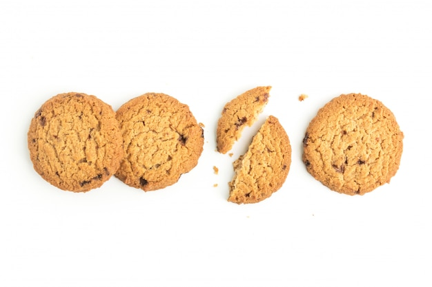 Homemade cookies on white background in top view Premium Photo