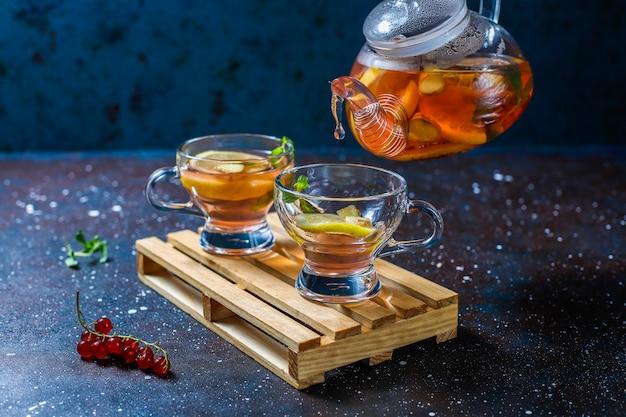 Домашний фруктово-ягодный чай с мятой. Бесплатные Фотографии