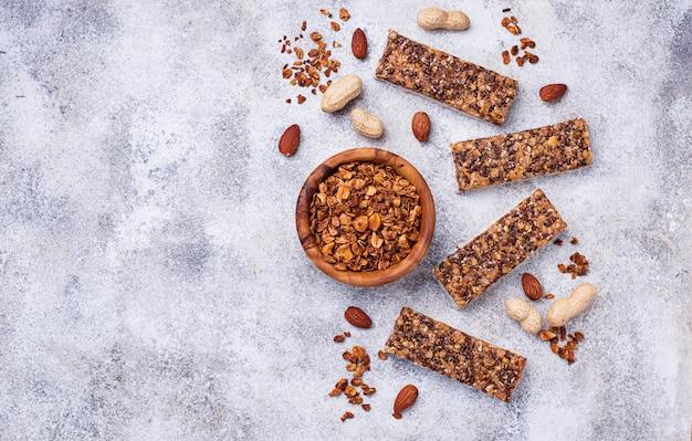 Homemade granola bars with nuts. Premium Photo