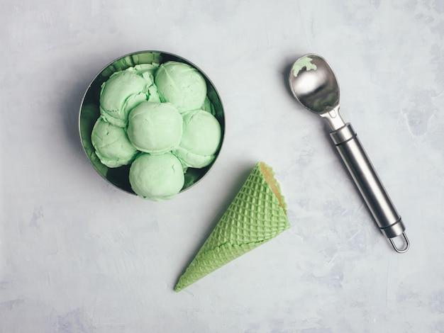 Homemade green organic avocado ice cream. close up . copy space. Premium Photo