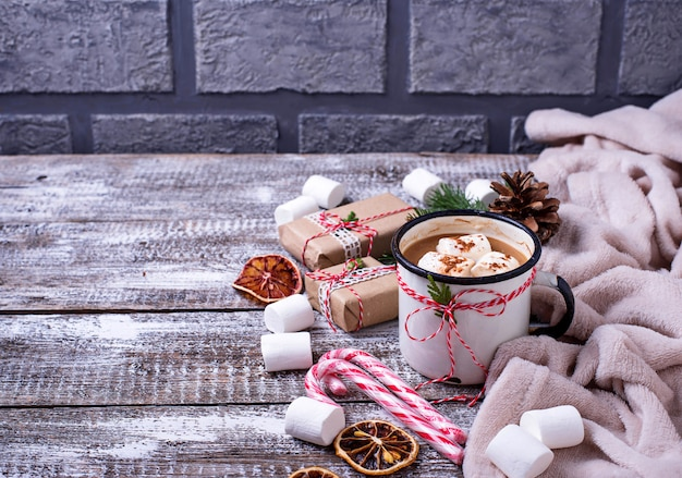 Homemade hot chocolate or cocoa drink Premium Photo