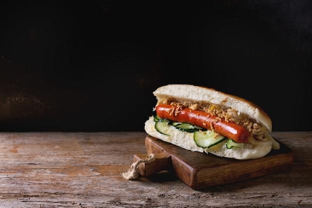 Homemade hot dog Premium Photo